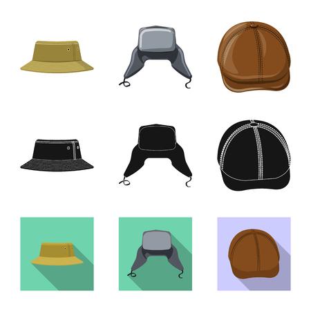 Vector design of headgear and cap logo. Set of headgear and accessory stock vector illustration. Stock Illustratie