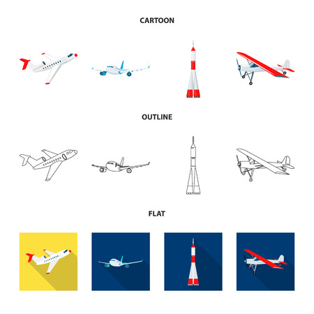 Isolated object of plane and transport sign. Collection of plane and sky stock symbol for web. Illustration