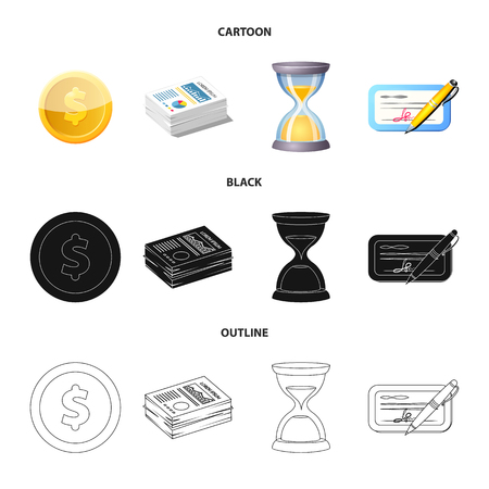 Isolated object of bank and money icon. Set of bank and bill vector icon for stock. Illustration