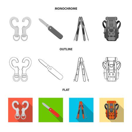 Vector design of mountaineering and peak symbol. Set of mountaineering and camp stock symbol for web.