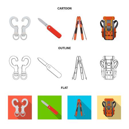 Vector design of mountaineering and peak logo. Set of mountaineering and camp stock symbol for web.
