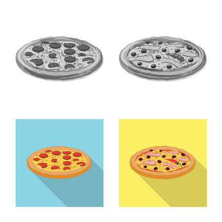 Isolated object of pizza and food symbol. Set of pizza and italy stock symbol for web. 스톡 콘텐츠