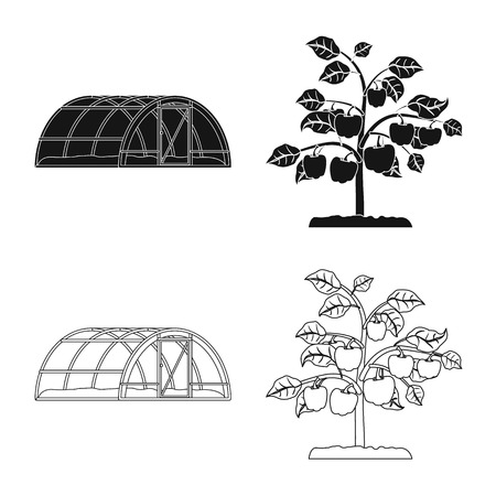 Isolated object of greenhouse and plant sign. Set of greenhouse and garden stock bitmap illustration. Standard-Bild - 111706424