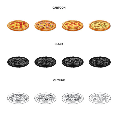 bitmap illustration of pizza and food symbol. Set of pizza and italy stock symbol for web.