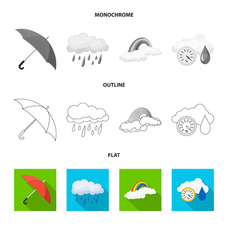 Isolated object of weather and climate logo. Set of weather and cloud stock bitmap illustration.