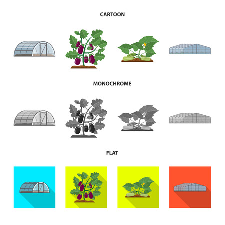 Isolated object of greenhouse and plant symbol. Collection of greenhouse and garden bitmap icon for stock. Zdjęcie Seryjne - 111708187