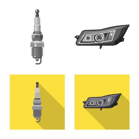 Vector design of auto and part symbol. Set of auto and car vector icon for stock. Illustration
