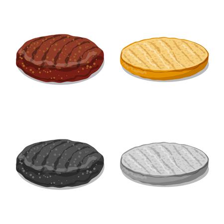 Vector design of burger and sandwich sign. Set of burger and slice stock vector illustration. Ilustracje wektorowe