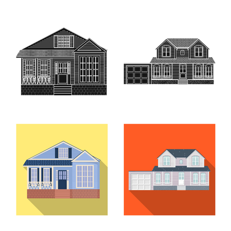 Vector illustration of building and front icon. Collection of building and roof stock vector illustration.