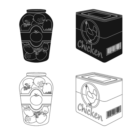 Vector illustration of can and food symbol. Collection of can and package vector icon for stock. Illustration