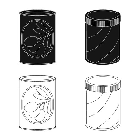 Vector illustration of can and food sign. Collection of can and package stock vector illustration.