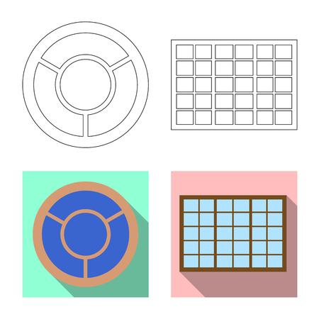 Vector illustration of door and front logo. Set of door and wooden stock vector illustration.