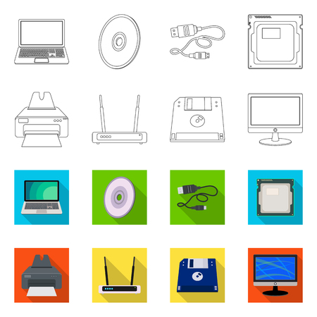 Vector design of laptop and device icon. Collection of laptop and server stock vector illustration.