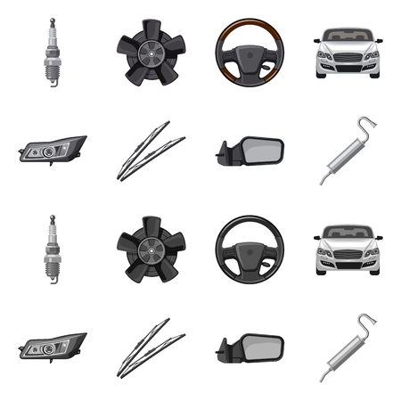 Vector illustration of auto and part symbol. Collection of auto and car stock symbol for web. Standard-Bild - 111712191