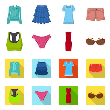 Illustration vectorielle du logo femme et vêtements. Collection de femme et porter une icône vectorielle pour le stock.