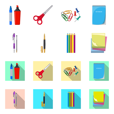 Vector design of office and supply symbol. Collection of office and school stock symbol for web. Illustration