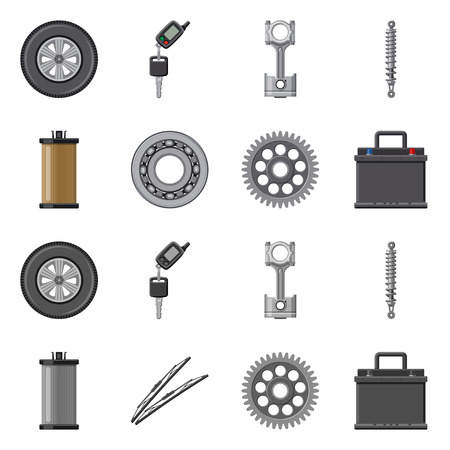 Vector design of auto and part sign. Collection of auto and car stock vector illustration. 向量圖像