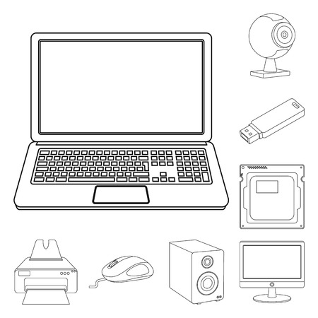 Vector illustration of laptop and device symbol. Collection of laptop and server stock symbol for web. Ilustrace