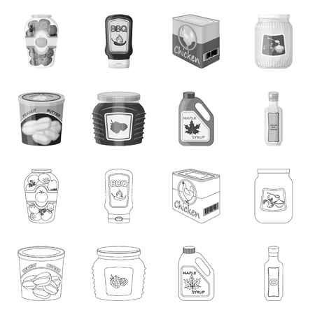 Vector design of can and food logo. Collection of can and package stock symbol for web. Illustration