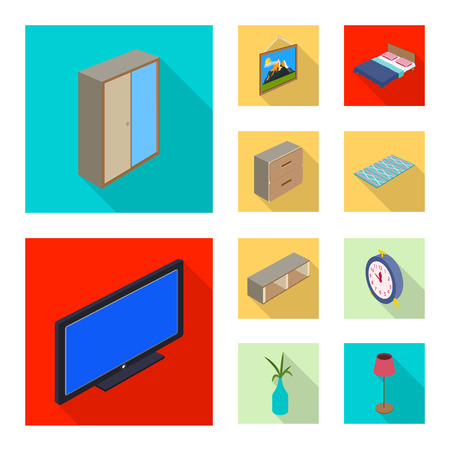Isolated object of bedroom and room icon. Collection of bedroom and furniture vector icon for stock. Illusztráció
