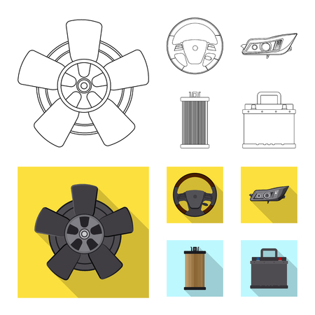 Vector illustration of auto and part sign. Collection of auto and car vector icon for stock.