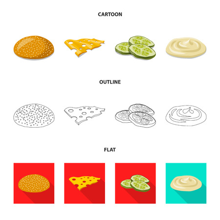 Vector design of burger and sandwich icon. Set of burger and slice vector icon for stock.