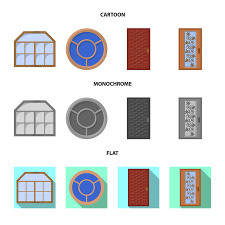 Vector design of door and front logo. Collection of door and wooden vector icon for stock. 矢量图像