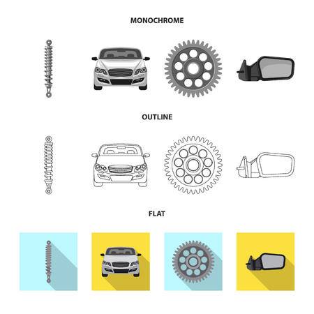 Vector design of auto and part logo. Set of auto and car vector icon for stock.