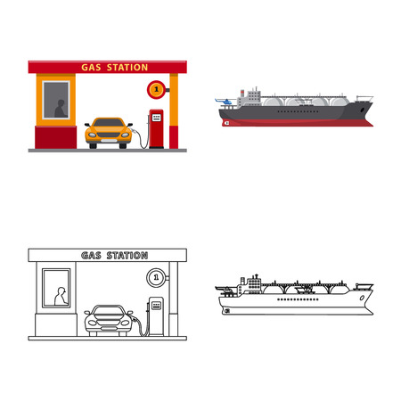 Vector illustration of oil and gas sign. Set of oil and petrol stock vector illustration.