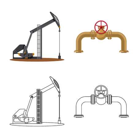 Isolated object of oil and gas symbol. Set of oil and petrol vector icon for stock. Illustration