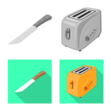 Vector illustration of kitchen and cook icon. Set of kitchen and appliance stock vector illustration.