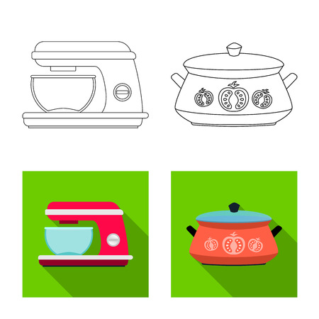 Isolated object of kitchen and cook sign. Set of kitchen and appliance vector icon for stock. Illustration