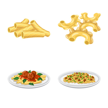 Vector design of pasta and carbohydrate sign. Set of pasta and macaroni vector icon for stock.