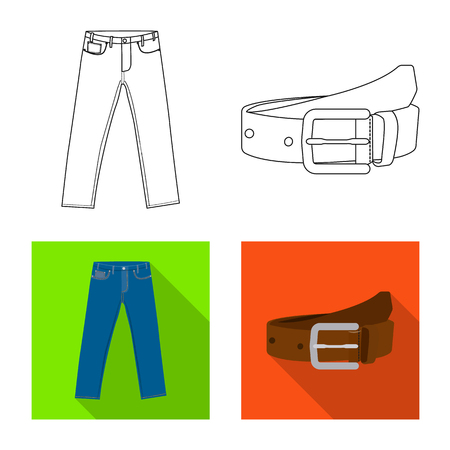 Vector design of man and clothing sign. Set of man and wear stock vector illustration.