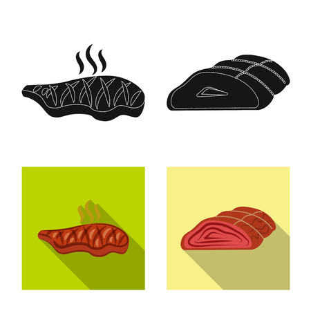 Isolated object of meat and ham sign. Collection of meat and cooking vector icon for stock. Illustration