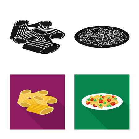 Isolated object of pasta and carbohydrate icon. Set of pasta and macaroni vector icon for stock.