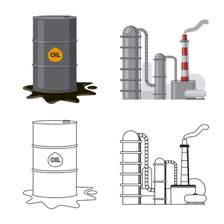 Isolated object of oil and gas icon. Set of oil and petrol stock symbol for web. Illustration