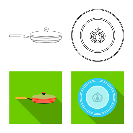 Vector design of kitchen and cook icon. Collection of kitchen and appliance stock vector illustration.