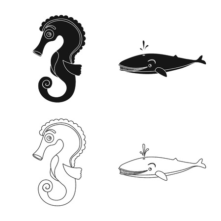 Vector design of sea and animal sign. Set of sea and marine stock vector illustration.