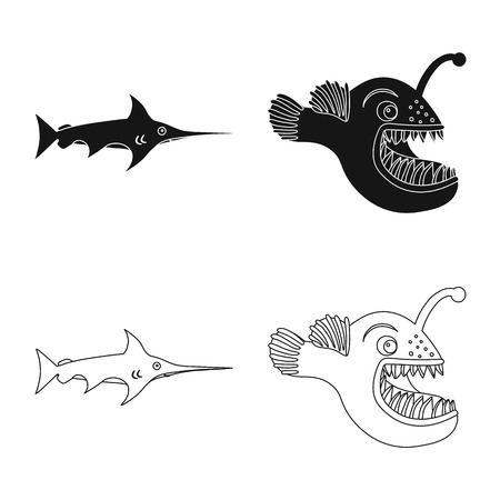 Isolated object of sea and animal symbol. Collection of sea and marine stock symbol for web.