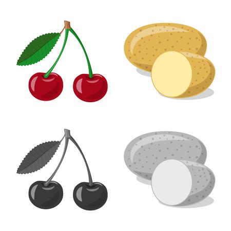 Vektorillustration des Gemüse- und Fruchtsymbols. Satz Gemüse- und vegetarische Lagervektorillustration.