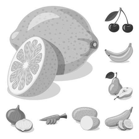 Isolated object of vegetable and fruit icon. Set of vegetable and vegetarian vector icon for stock. Ilustracja
