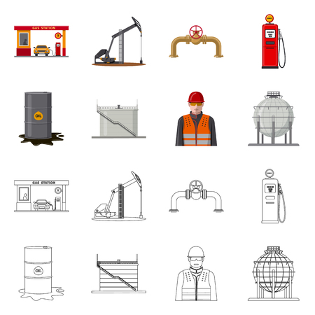 Isolated object of oil and gas icon. Set of oil and petrol stock vector illustration. Stock Vector - 111960270