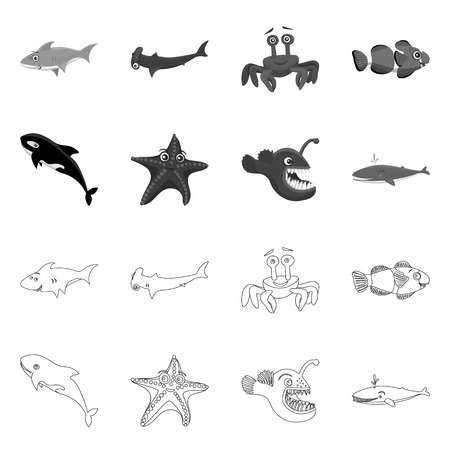 Vector design of sea and animal sign. Set of sea and marine vector icon for stock.