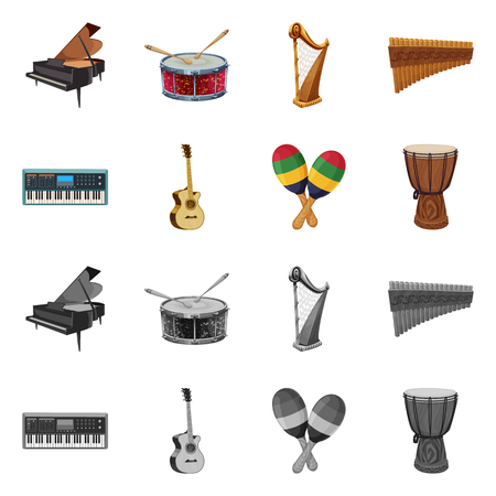 Vector design of music and tune logo. Set of music and tool vector icon for stock.