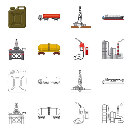 Vector design of oil and gas logo. Set of oil and petrol stock symbol for web.