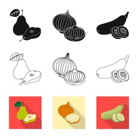 Vector illustration of vegetable and fruit symbol. Set of vegetable and vegetarian stock vector illustration. Ilustracja