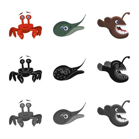 Vector illustration of sea and animal logo. Set of sea and marine stock vector illustration. Illustration