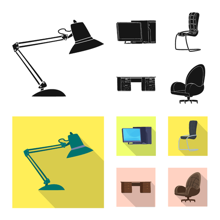 Vector illustration of furniture and work symbol. Collection of furniture and home stock symbol for web.