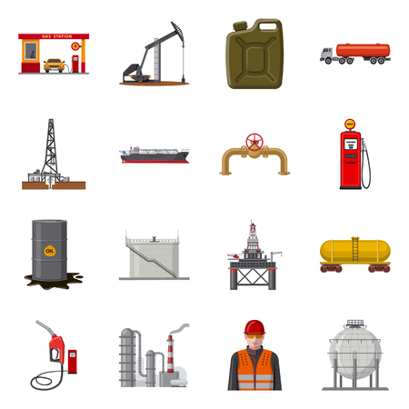 Vector illustration of oil and gas logo. Set of oil and petrol vector icon for stock. Stock Photo